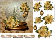 SnowGlobe Golden Poinsettias on Craftsuprint designed by Marijke Kok - Beautiful snow globe with golden poinsettias and nice golden baubles.In rich color. - Now available for download!