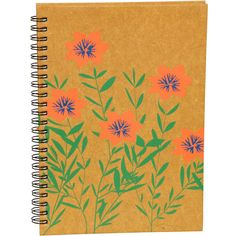 Orange Flowers Notebook (360 MXN) ❤ liked on Polyvore featuring home, home decor, stationery, fillers, accessories, books, books/letters and school supplies