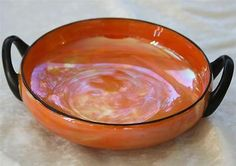Antique/Vintage Art Deco Orange & Black Japanese Lusterware two handled Bowl Deco Orange, Vintage Art, Pottery, Japanese, Antiques, Tableware, Luster, Ebay, Bowls