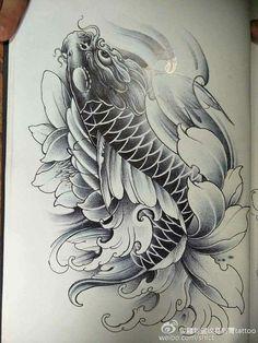 Japanese Koi Fish Tattoo, Koi Fish Drawing, Japanese Tattoo Designs, Fish Drawings, Koi Tattoo Sleeve, Carp Tattoo, Japanese Sleeve Tattoos, Lion Tattoo, Tatoo Carpe Koi