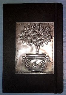 pewter tree embossed journal