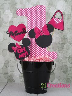 Minnie Mouse Centerpiece Hot Pink with White Polka by 21Creations, $20.00