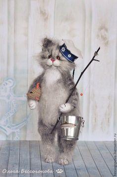 Купить вязаный КОТ РЫБОЛОВ - серый, кот, котик, вязаная игрушка, вязаный котик