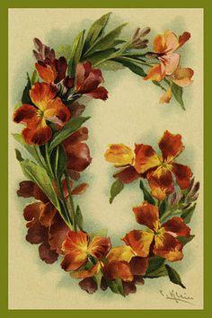 Olde America Antiques | Quilt Blocks | National Parks | Bozeman Montana : Alphabet Flowers A to Z - Letter G