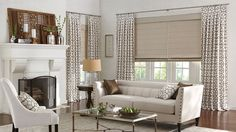 Draperies with Box Pleat: Trusses, Truffle 3601. Classic Flat Roman Shades with Standard Cord Control and Standard Fabric Valance: Glacé, Fossil 3402.