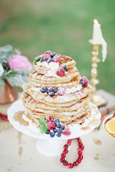 #pancake wedding cake for #brunch wedding - by WhitePepperpdx.com | Read More: http://www.stylemepretty.com/2015/03/31/winters-dawn-wedding-inspiration-shoot/ | Photography: www.MaryAliceHall.com