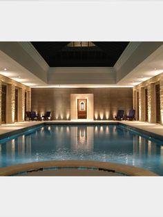 Beautifully lit swimming pool