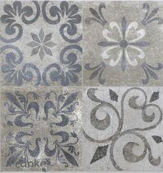 The new trend - tiles with ornaments in vintage style. Shabby Vintage, Retro Vintage, Vintage Stil, Painting Tile Floors, Painted Floors, Tile Patterns, Print Patterns, Tile Design, Coastal Decor
