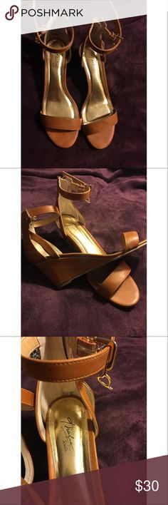 Tan Wedges Size 9 tan wedges, worn once in great condition! Thalia Sodi Shoes Wedges
