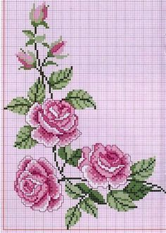 ru / Фото - ROSES 1 - aaadelayda by Catherine Warren Hillis Cross Stitch Borders, Cross Stitch Rose, Cross Stitch Flowers, Cross Stitch Charts, Cross Stitch Designs, Cross Stitching, Cross Stitch Embroidery, Embroidery Patterns, Hand Embroidery