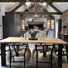 Umm why is it not Friday already? Anyone's else's week dragging? This is the view of the kitchen from down in the snug. I'm so excited… Open Plan Kitchen Dining Living, Barn Kitchen, Living Room Kitchen, Dining Room, Barn Conversion Kitchen, Barn Conversion Interiors, Barn Conversions, Converted Barn Homes, Barn Living