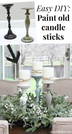 EASY DIY: How to paint candlesticks - SUCH an cute idea for old candlesticks you. - EASY DIY: How to paint candlesticks – SUCH an cute idea for old candlesticks you…, - Sewing Room Furniture, Thrift Store Furniture, Thrift Store Crafts, Thrift Stores, Online Thrift, Thrift Store Decorating, Furniture Dolly, Thrift Store Finds, Refurbished Furniture