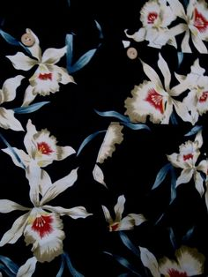 White Orchid flowers are featured over this black background #Hawaiian themed Paradise Found shirt. This black cotton #men'sfashion  casual shirt will be perfect with denim blue jeans for weekends!