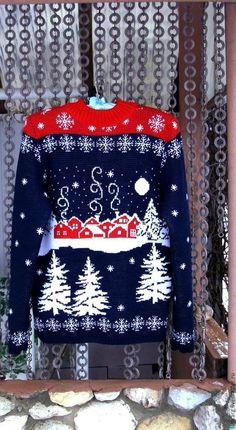 Кофты и свитера ручной работы. Ярмарка Мастеров - ручная работа. Купить Жаккардовый свитер. Handmade. Темно-синий, жаккардовый свитер