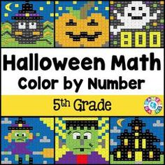 Halloween Math Color-by-Number - 5th Grade