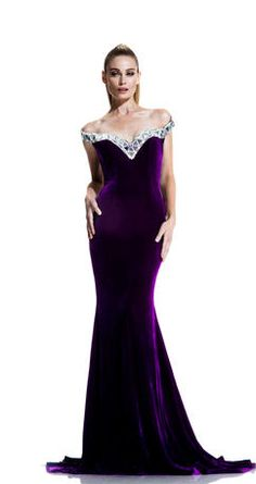 c271f53e13d Johnathan Kayne 567 Off Shoulder Stretch Velvet Gown -Off the shoulder  floor length stretch velvet evening dress features rhinestone design along  the top.