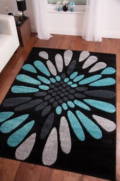 """Toronto Modern Black Teal Blue Hand Carved Rugs 120cm x 170cm (3ft 11"""" x 5ft 7""""):Amazon:Home & Kitchen"""