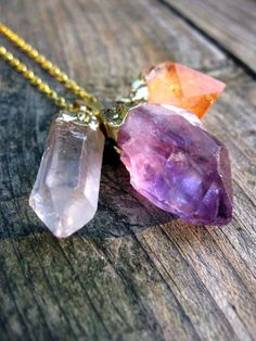 Quartz, amethyst, and citrine necklace