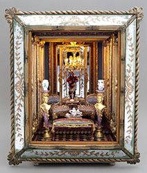 Bluette Meloney designs and creates dollhouse miniature scale rooms and scenes with faux finishes and other realistic effects and textures. Miniature Dollhouse Accessories, Miniature Rooms, Miniature Houses, Miniature Furniture, Dollhouse Furniture, Putz Houses, Fairy Houses, Diy Doll Miniatures, Hall Of Mirrors