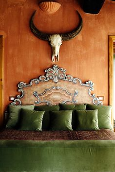 Tuscan eclectic at castello di vicarello - an Italian Hideaway (well, back in 08 when book was published it was a Terracotta, Unique Headboards, Green Bedding, Green Pillows, Bedroom Green, Green Rooms, Velvet Pillows, Bedroom Colors, Under The Tuscan Sun