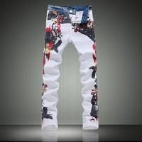 Hot Sale 2016 New Designer Printed Jeans America Flag Men Jeans High Quality Denim Overalls Skinny Jeans Brand Mens Clothing