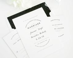 Shine Wedding Invitations, polka dot liner