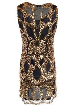 134ca88b0a Golden-Black Patchwork Sequin Grenadine Shoulder-Strap Bodycon Sleeveless  Prom Party Mini Dress
