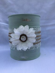 FREE SHIPPING Shabby chic up cycled repurposed tin can