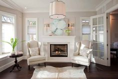 Fireplace with Wingback Chairs, Transitional, Living Room, Benjamin Moore Dove Wing, 960 Blanc Benjamin Moore, Benjamin Moore Dove Wing, Ballet White Benjamin Moore, Benjamin Moore Balboa Mist, Oyster Shell Benjamin Moore, White Dove Benjamin Moore Walls, Living Room Paint, My Living Room, Cozy Living