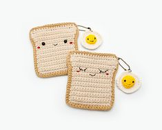 PATTERN - Bread with Fried Egg , Coin purse and keychain pattern, Bag pattern, Crochet pattern. Crochet Coin Purse, Crochet Purse Patterns, Crochet Purses, Crochet Wallet, Crochet Food, Cute Crochet, Crochet Lace, Kawaii, Share Pictures