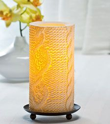 Candle Impressions 6 Inch Aran Knit Flamless Candle Timer - CAT61091WH00