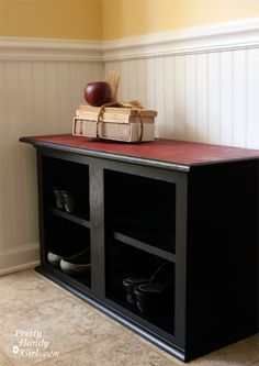Turn kitchen cabinets into shoe storage bench. PERFECT for the cabinets I have leftover from the kitchen redo!