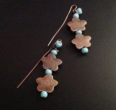 Cooper stars and turquoise bracelet earring and by JeanineHandley, $45.00