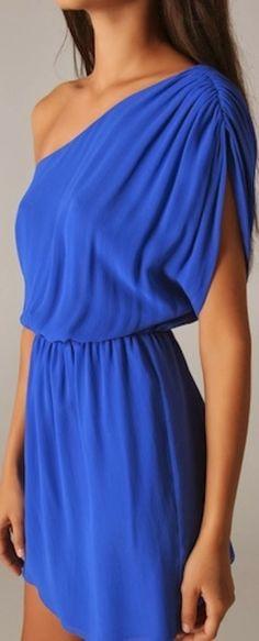 One shoulder blue summer dress