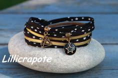 """Bracelet cordon tissu 2 tours"""" tout ce qui brille """" noir bronze doré _ breloque diamant etoile sequin émaillé : Bracelet par lillicrapote"""