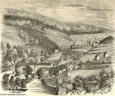 19th Century Engraving of Lea Mills, Derbyshire