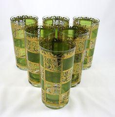 Culver Prado Green 6 High Ball Glasses Flat Tumbler 22K Gold Mid Century Barware #FlatTumbler