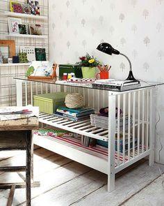 20 Unusual Furniture hacks | Crib turned into a craft desk.