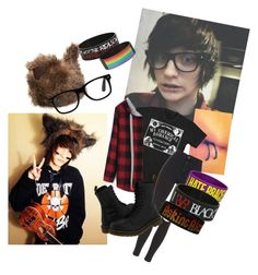 """""""Johnnie Guilbert"""" by bandfreakhannah ❤ liked on Polyvore featuring Topshop and Dr. Martens"""