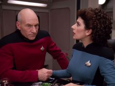 Marina Sirtis, LeVar Burton, and Patrick Stewart in Star Trek: The Next Generation Star Trek Reboot, Marina Sirtis, Star Trek Cosplay, Star Trek Images, Star Trek Series, Starship Enterprise, Love Stars, The Next, Patrick Stewart