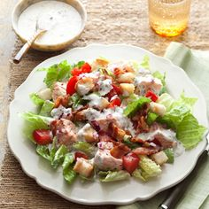 Salmon BLT Salad Recipe -- This salad combines ingredients of a classic BLT sandwich with the protein-rich addition of salmon. #myplate #protein #vegetables