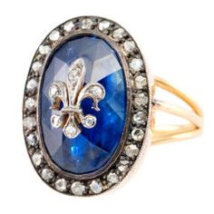 Sapphire and Diamond Fleur de Lys Ring, 1860's