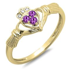 10K Gold Round Amethyst and White Diamond Ladies Bridal Promise Love And Friendship Heart Shape Ring ** Quickly view this special  product, click the image : Promise Rings Jewelry