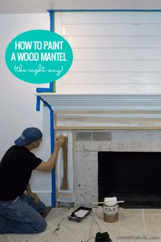 DIY Fireplace and Mantel Makover: How to update a wood mantel and paint and prime original and new wood to paint the mantel gray Painted Fireplace Mantels, Painted Mantle, Wood Fireplace Surrounds, Oak Mantle, Wood Fireplace Mantel, Fireplace Update, Wood Mantels, Custom Fireplace, Fireplace Ideas