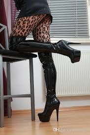 Image result for black patent leather thigh high boots