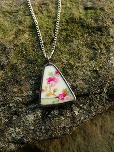Broken china jewelry shard pendant antique cherry blossom porcelain recycled broken plate necklace