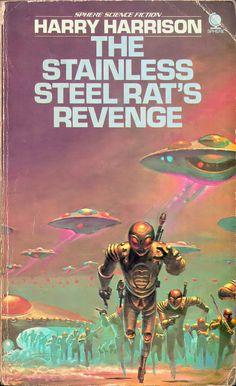 The Stainless Steel Rat's Revenge, Harry Harrison (1976 paperback) cover by Bruce Pennington