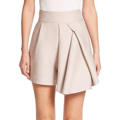Tibi Corazon Draped Jacquard Shorts ($505) ❤ liked on Polyvore featuring shorts, apparel & accessories, blush haze, tibi, long high waisted shorts, high waisted pleated shorts, highwaist shorts and high rise shorts