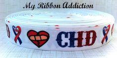 CHD ribbon  CHD awareness  CHD grosgrain  by MyRibbonAddiction Chd Awareness, Awareness Ribbons, Heart Disease, Grosgrain Ribbon, My Heart, Addiction, Shrimp Boat, Heart Health, Red
