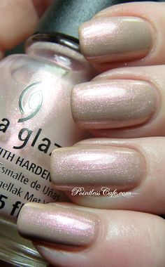 China Glaze Temptation Carnation is a really lovely light pink shimmer. It's quite sheer, so I layered it over a plain nude creme and let it shine. No issues with formula or application with this one either.